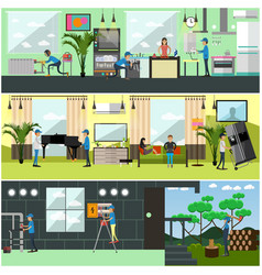 Set of workers profession posters banners vector