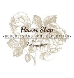 Shop emblem over rose sketch vector