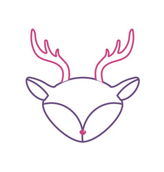 silhouette deer head wild cute animal vector image
