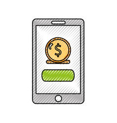 Smartphone with banking app vector