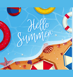 Summer background theme with toys on the beach vector