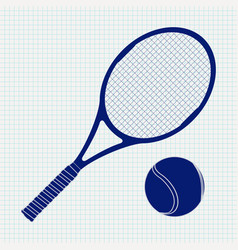 tennis racket and ball on noteboo vector image vector image