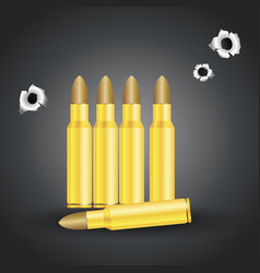 weapon bullets and bullet holes isolated on gray vector image vector image