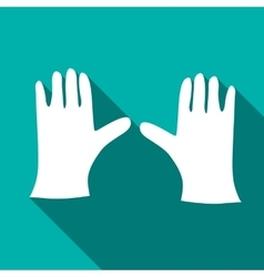 Pair of white gloves icon flat style vector