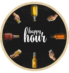 Coaster for alcohol drinks with bottle and hand vector