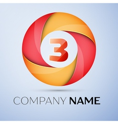 Three number colorful logo in the circle template vector image