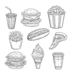 Fast food sketch isolated icons set vector