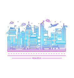 Megalopolis big city life contour line art vector