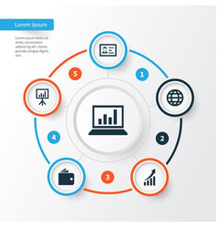 Job icons set collection of increasing diagram vector