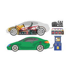 Electrocar or electric car automobile vehicle vector