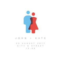 minimalist wedding invitation vector image