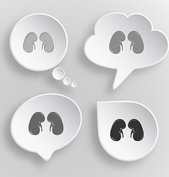 Kidneys white flat buttons on gray background vector