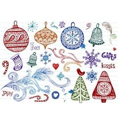 Christmas doodles vector image