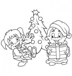 children christmas vector image