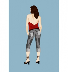 Girl back vector