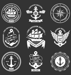 Vintage retro nautical badges and labels vector