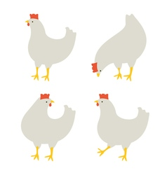 4 chickens vector image