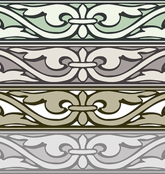 6 set of decorative borders vintage style silver vector