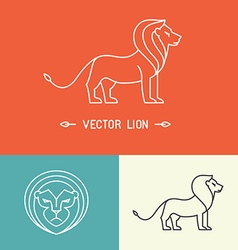 Lion logo template in trendy linear style vector