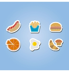 Color icon set with fast food vector