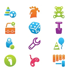 Icon set children toys and games vector