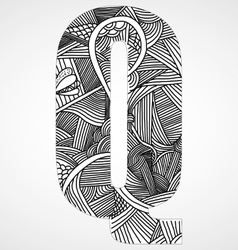 Letter q from doodle alphabet vector