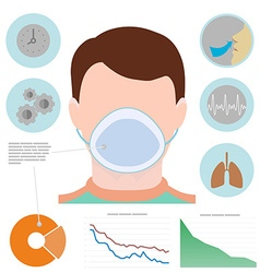 Respiratory infographic man in respiratory mask vector