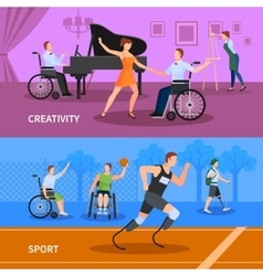 Disabled People 2 Flat Banners Composition vector image