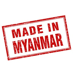 Myanmar red square grunge made in stamp vector