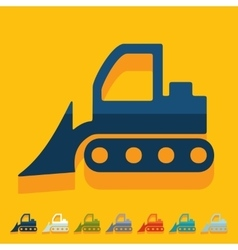 Flat design bulldozer vector