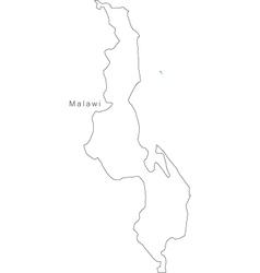 Black White Malawi Outline Map vector image
