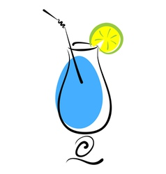 Alcohol blue cocktail in glass vector image vector image