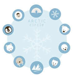 Arctic animals people icons circle frame vector