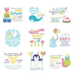 Baby shower invitation set vector image vector image
