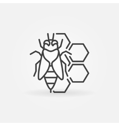 Bee and honeycomb concept icon vector