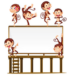 Blank board with monkeys on it vector
