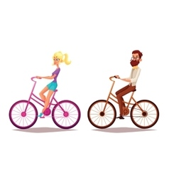 Cartoon couple riding bikes vector