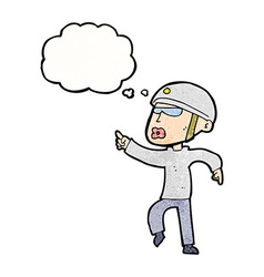 Cartoon man in bike helmet pointing with thought vector