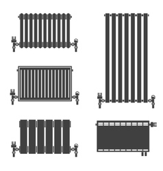 Central heating radiators icons vector
