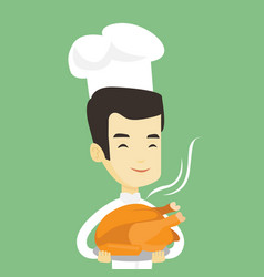 chief cook holding roasted chicken vector image vector image