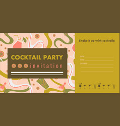 Cocktail party horizontal invitation card vector