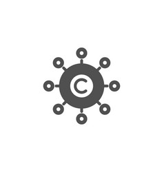 Copywriting network simple icon copyright sign vector