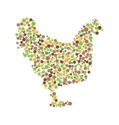 Dotted colorful chicken vector