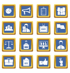 Election voting icons set blue vector