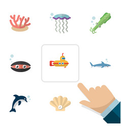 Flat icon nature set of medusa scallop periscope vector
