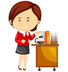 Flight attendant serving drinks on airplane vector