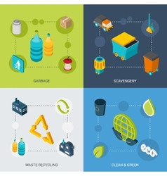 Garbage Isometric Set vector image