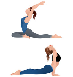 girls practicing yoga vector image