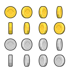Gold and silver coins with different rotation vector