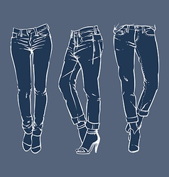 Hand drawn fashion design mens jeans vector